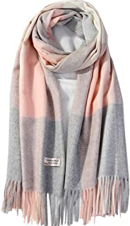 Women Plaid Cashmere Wool Scarf Shawl Wraps - Extra Large Thick Soft Pure Virgin Wool Pashmina