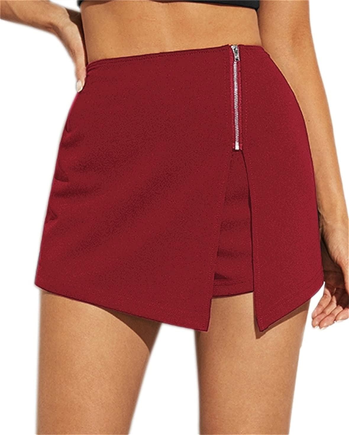 SheIn Women's Choice Zip Up Asymmetrical Special sale item with Split Hem Skirt Skorts