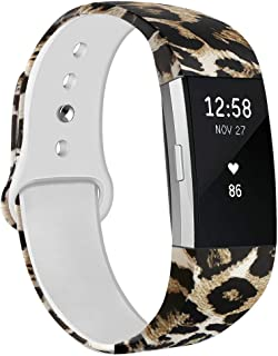 NAHAI Bands Compatible with Fitbit Charge 2, Soft Silicone Pattern Printed Replacement Bands Adjustable Sport Wristbands Strap Accessories for Fitbit Charge 2, Women Men, Large Small