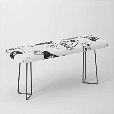 Video Game Black On White by Ts55 on Bench/Ottoman - Black