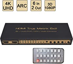 6X 2 HDMI Matrix Switch, Awakelion 6 in 2 Out Switcher/Splitter with Optical & L/R Audio Output - Support Ultra HD 4K x 2K,3D 1080p,ARC,PIP,Includes IR Remote Control & Power Adapter