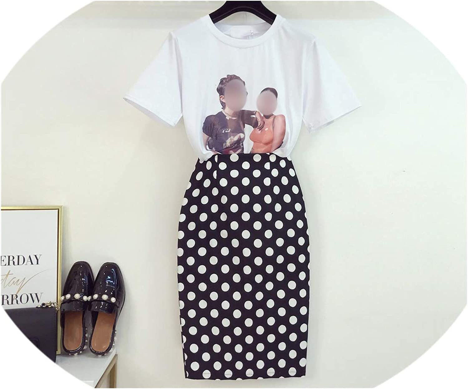 Enjoypeak Summer Dress Print TShirt + Dot Skirt Office Lady Sexy Package Hips Skirts Set