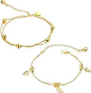 Gkmamrg Cha/îne de Cheville pour Femme en Or 18 carats plaqu/é Or avec Boules de Cheville Bracelet de Plage Pied Bijoux pour Femme Fille
