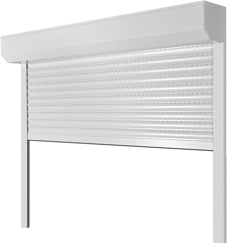 Vorbaurollladen Typ Corner, 39mm Aluminium-Lamelle 105x130cm mit Gurtwickler, Bedienseite  Rechts, (wei (hnlich RAL 9010)) als Maanfertigung
