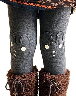 BOGIWELL Kid Girl Fall Winter Cute Warm Thick Rabbit Printed Fleece Legging Pant