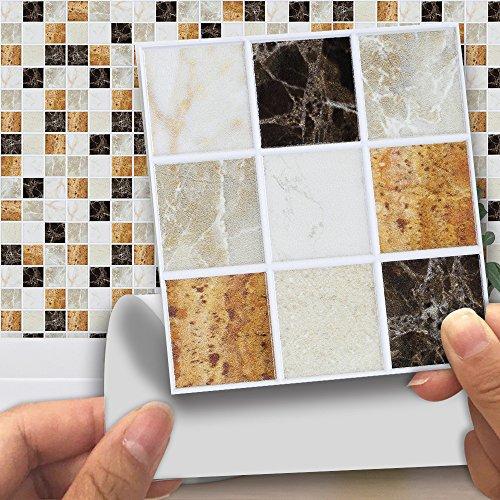 Wandsticker abnehmbare Tapeten Fliesen-Aufkleber selbstklebend quadratisch wasserdicht ölfest Anti-Rutsch-Fliesen DIY Vinyl Wand Kunst für Schlafzimmer Küche Bad Kunst Wandbild, 01, 4*4inch*18
