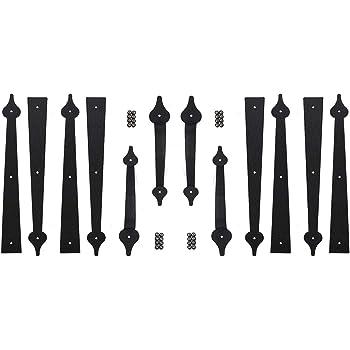 Garage Carriage Door Hinges Iron Decorative Garage Handles Hardware Kit 2 Set (8 Hinges + 4 Handles)