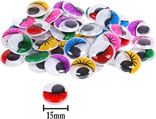 240 Pieces 15mm Wiggle Eyes Multi Color Google Eyes with Self- Adhesive Eyelash Googly Eyes