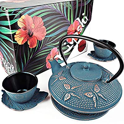 "KIYOSHI Luxury 7PC Japanese Tea Set.""Blue Butterfly"" Cast Iron Tea Pot with 2 Tea Cups, 2 Saucers, Loose Leaf Tea Infuser and Teapot Trivet. Ceremonial Matcha Accessories and Iron Anniversary Gifts"