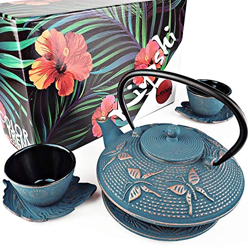 """KIYOSHI Luxury 7PC Japanese Tea Set. """"Blue Butterfly"""" Cast Iron Tea Pot with 2 Tea Cups, 2 Saucers, Loose Leaf Tea Infuser and Teapot Trivet. Ceremonial Matcha Accessories and Iron Anniversary Gifts"""