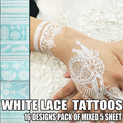 Bluezoo Henna Body Paints Tattoos Stickers Whitelace Tattoo for Girls,women Necklace,bracelets...