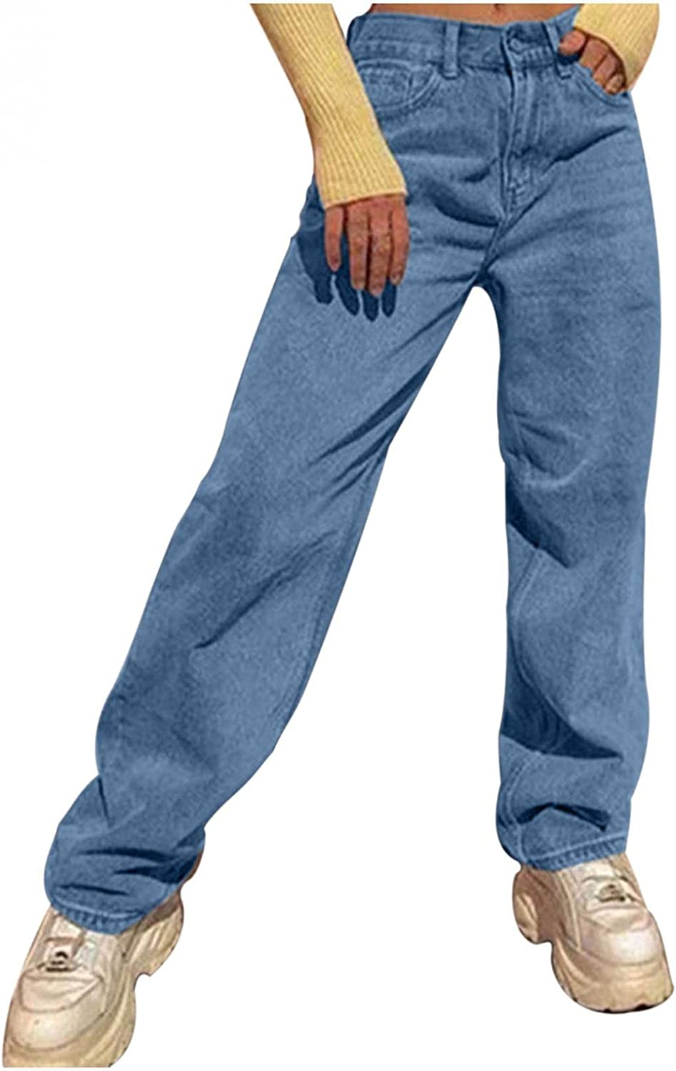 Dunacifa High Waisted Jeans for Women Distressed Baggy Boyfriends Jeans Straight Leg Streetwears Denim Pants with Pocket