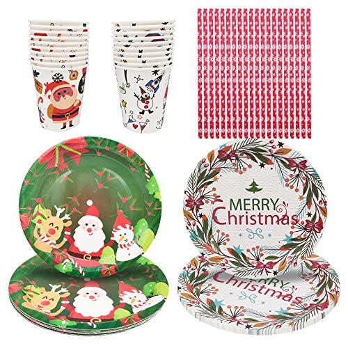 JJYHEHOT Vajilla Desechable De Navidad, Impresión De Tema Navideño único Para Aumentar El Ambiente Festivo (60 Piezas)