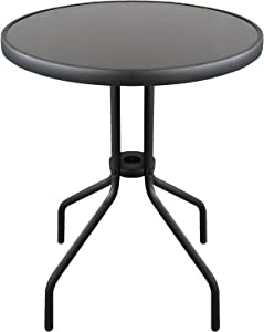 Wohaga Table de Bistrot Ø60cm Plateau de Table en Verre Table de Balcon Table de Jardin - Noir