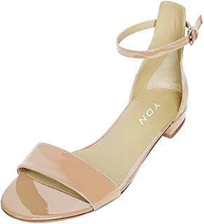 f6631185e YDN Womens Chic Block Low Heel Sandals with Buckle Solid Ankle Strap Flat  Shoes Comfy