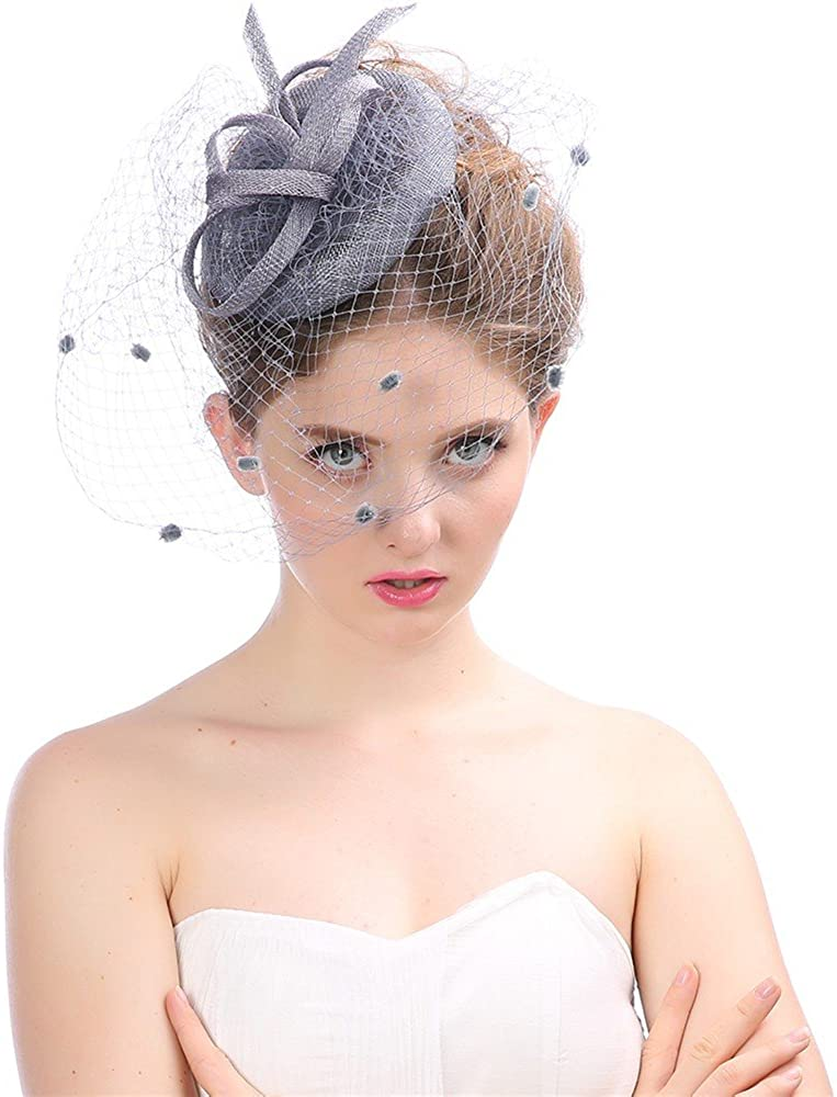 LEXUPA Fashion Wedding Women Fascinator Penny Mesh Hat Ribbons and Feathers Party Hat