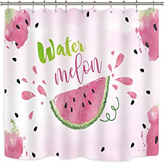 Riyidecor Watermelon Shower Curtain Watercolor Fruit Fuchsia Strawberry Sweet Melon Slice Seed Tasty Hot Pink Green Bathroom Home Decor Fabric Polyester Waterproof 72x72 Inch 12 Pack Plastic Hooks