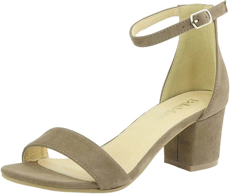 Bella Marie Women's Strappy Open Toe Block Heel Sandal Taupe 7
