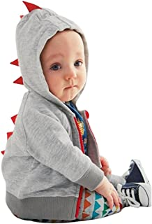 JIA&DI Kids Boys Girls Fasion Hooded Zipper Coat Dinosaur Modeling Outfits Tops for Spring Autumn