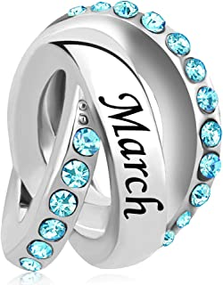 Birthstone Crystal Ring Charm Beads for Bracelet & Necklace