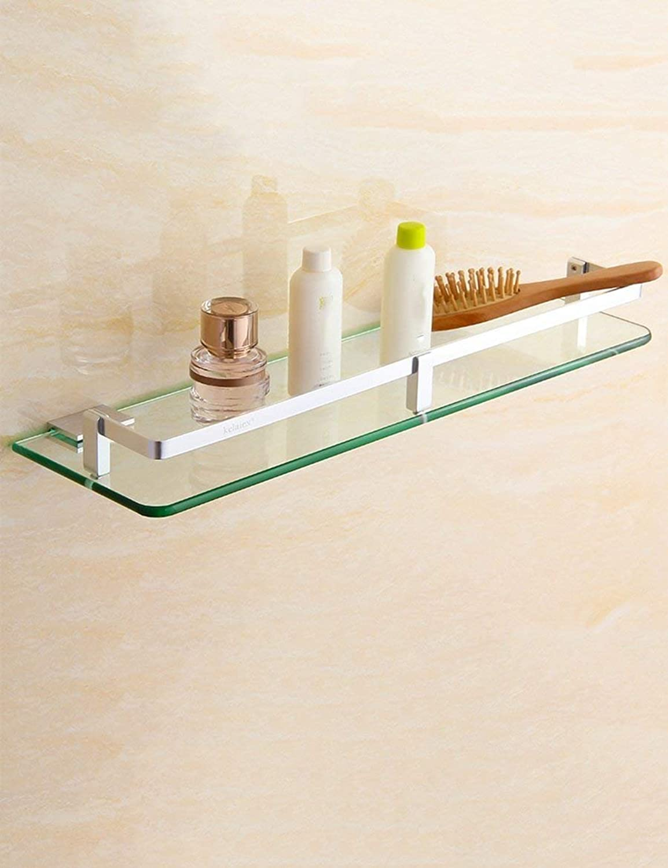 Elegant Towel Stand Towel Rack Bathroom Space Aluminum Glass Shelf Single-Layer Wall Hanging Rack Hardware Pendant Punch Free (color   25  13cm)