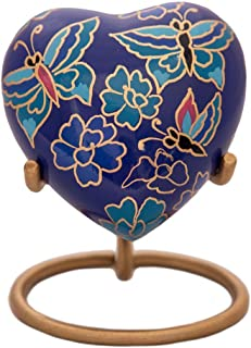 Blue Heart Keepsake Urn - Butterflies Mini Ash Urn - Free Premium Velvet Box & Display Stand - Small Handcrafted Cremation Urn for Ashes - Tribute to Your Loved One - Perfect for Adults & Infants