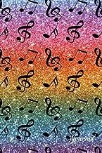 Journal: Faux rainbow glitter music notes notebook