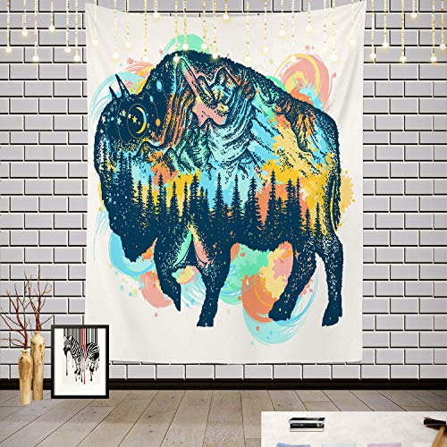 Batmerry Buffalo Color Tattoo Art Tapestry, Tribal Native American Tribal Camp Design Print Picnic Mat Hippie Trippy Tapestry Wall Art Decor for Bedroom Living Room, 82.7 x 59.1 Inches, Black White