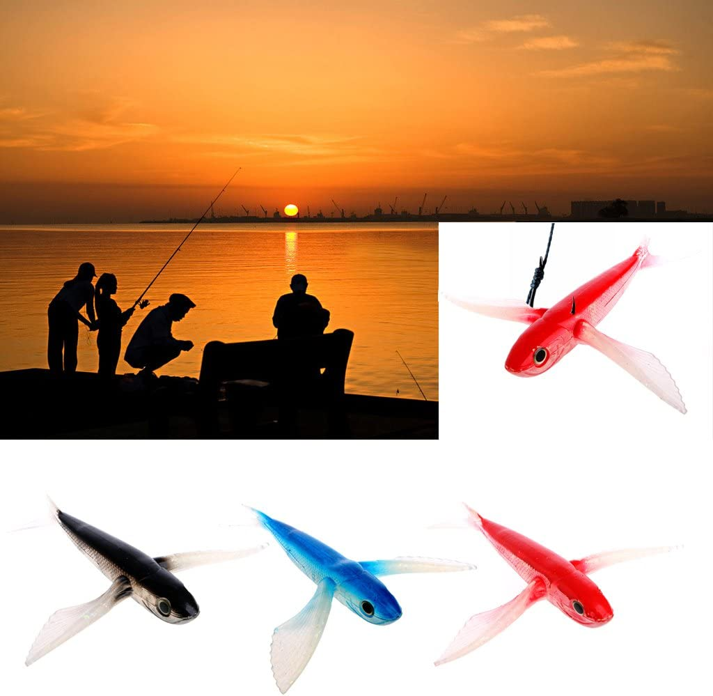 Lergo Seawater Fishing Bait Flying Fish Lure Boat Trolling Tuna Mackerel Soft Baits