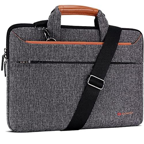 DOMISO 17 inch Laptop Sleeve Shoulder Bag Water-Resistant Messenger Bag Business Briefcase for 17.3' Notebooks/17.3' Dell Inspiron/MSI GS73VR Stealth Pro/Lenovo IdeaPad/HP Envy/LG Gram/ASUS ROG,Brown