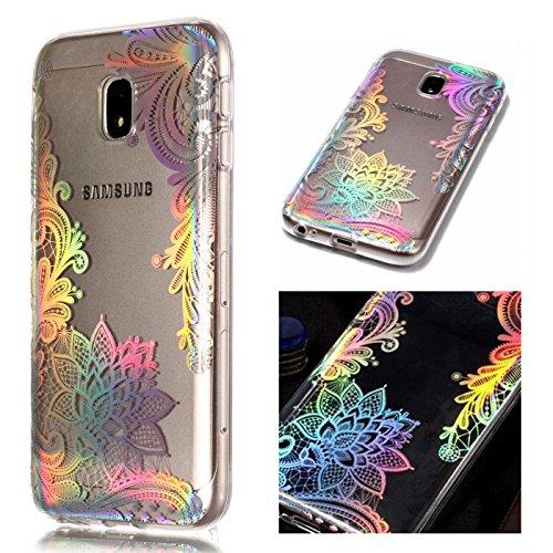 ZCRO TPU Hülle für Samsung Galaxy J3 2017 / J330, Handyhülle Ultra Dünn Case Silikon Schutzhülle Transparent Hüllen Slim Cover Blumen Muster Weich Klar Silikonhülle für Galaxy J3 2017 J330 (Blume)