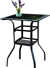 Patio Festival Outdoor Bistro Bar Table,Patio Metal Steel Slat Dining Side Table 2-Tier Tempered Glass Top with Storage (1 Table)