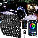 JIMJOY RGB LED Rock Lights,14 Pods Waterproof Multicolor Chasing Neon Underglow Music Lighting Kit with APP&RF Control for Car Truck ATV UTV SUV