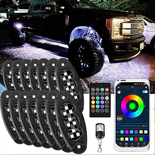 JIMJOY RGB LED Rock Lights,14 Pods Waterproof...
