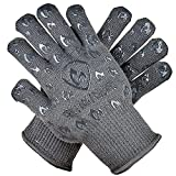 Grill Armor Oven Gloves - Extreme Heat Resistant EN407 Certified 932°F - Cooking Mitts for BBQ, Grilling, Baking, Camping, Fire Pit, Cast Iron, Smoker, Pizza & More - Indoor & Outdoor - Grey