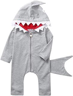 Wanshop® - Mameluco con capucha para bebé, diseño de tiburón, con cremallera, manga larga, con cremallera, pijamas