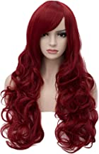 Aosler Women's Wine Red Long Wig,32 Inches Curly Wavy Synthetic Hair Wigs - Heat Friendly Cosplay Party Costume Wigs for Halloween