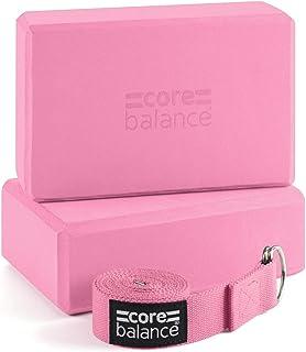 CORE BALANCE Set Bloque Espuma Yoga con Correa - Ladrillo Soporte De Yoga Pilates. Alta Densidad, Resistente, Firme, Liger...