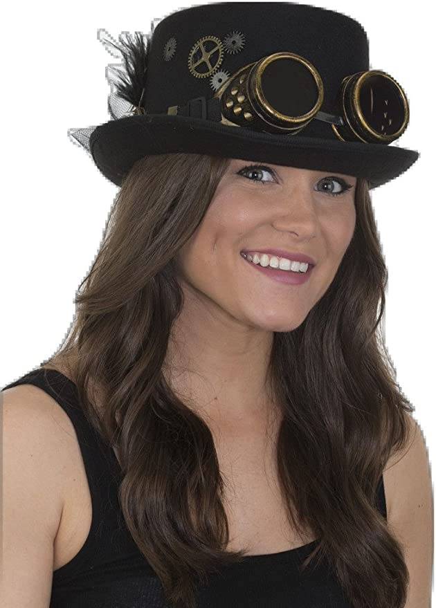 Steampunk Accessories | Goggles, Gears, Glasses, Guns, Mask Jacobson Hat Company Womens Ladies Steampunk Top Hat Black Adjustable  AT vintagedancer.com