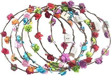 BESTOYARD 6pcs Couronne de Noël Lumière LED Deco Noel Fleurs Guirlande de Porte Noel Suspension Noel (Couleur Aléatoire)