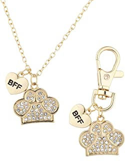 Crystal Pave BFF Dog Paw Collar Owner Necklace & Keychain Set