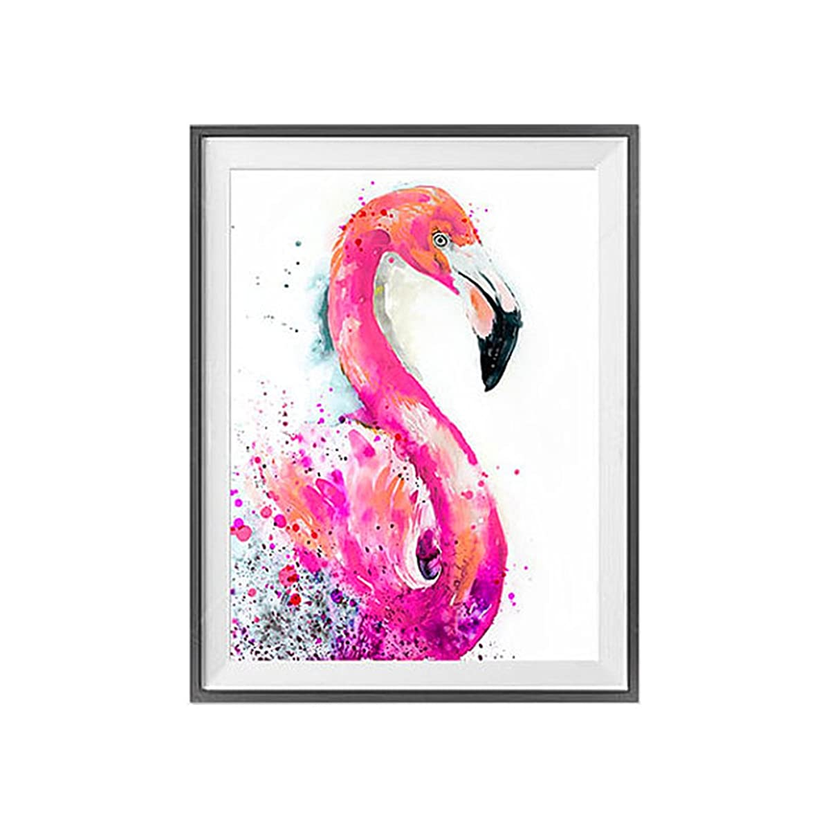 DIY 5D Diamond Painting by Number Kits, Crystal Rhinestone Diamond Embroidery Paintings Pictures Arts Craft for Home Wall Decor(Flamingo)