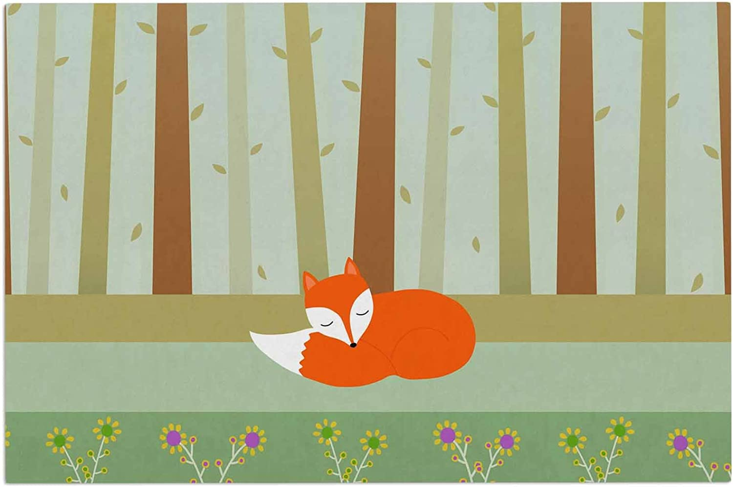 KESS InHouse Cristina Bianco Design Sleeping Fox Green Illustration Decorative Door, 2' x 3' Floor Mat