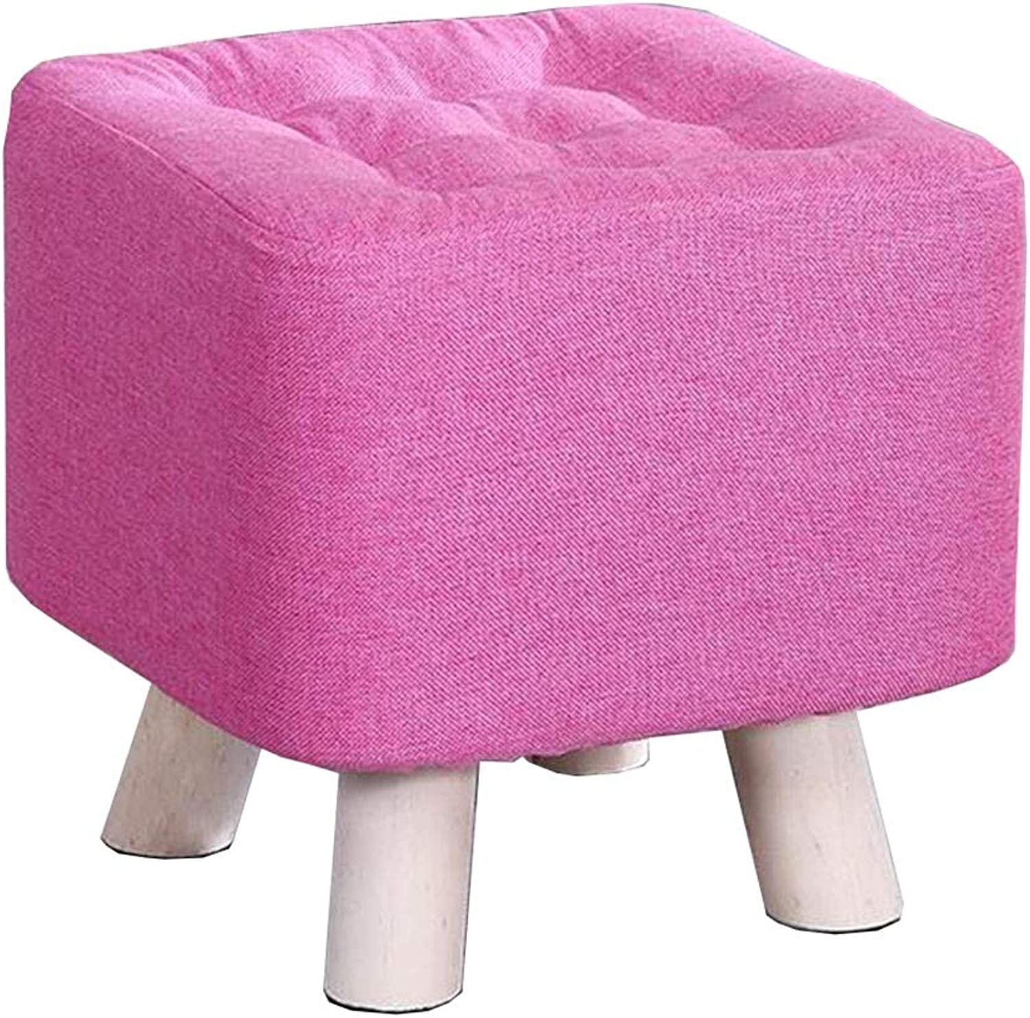 Dall Footstool Sponge Upholstered Sofa Stool Wooden Leg shoes Bench Removable Washable, 8 colors (color   T4, Size   29×29×29cm)