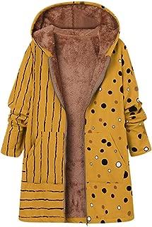 Womens Thicker Zipper Hooded Coat Outwear Plus Size Winter Warm Printed Pockets Fleecy Outercoat