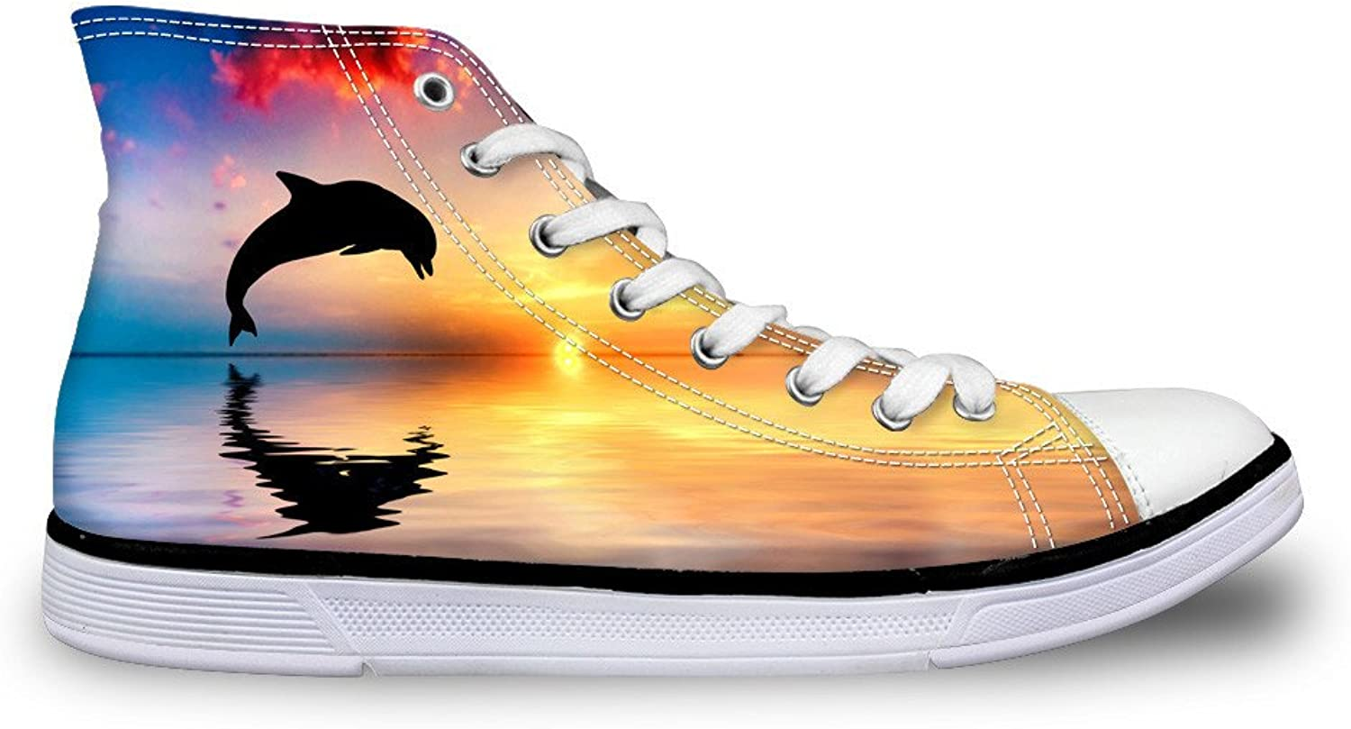 Chaqlin Hi Top Stylish Canvas Sneakers Fashion Dolphin Daily Walking shoes for Womens Size 45