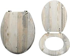 "MSV WC-bril toiletdeksel MDF houten kern ""Ombo Landhuis"" scharnieren van roestvrij staal - hoogwaardige en stabiele kwaliteit"