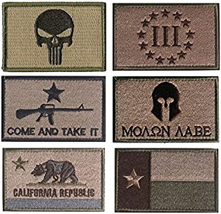 TOWEE 6 Pack Tactical Punisher/ Three Pencete/ Come and Take It/ Molon Labe/ California Flag/ Texas Flag Military Morale Patches