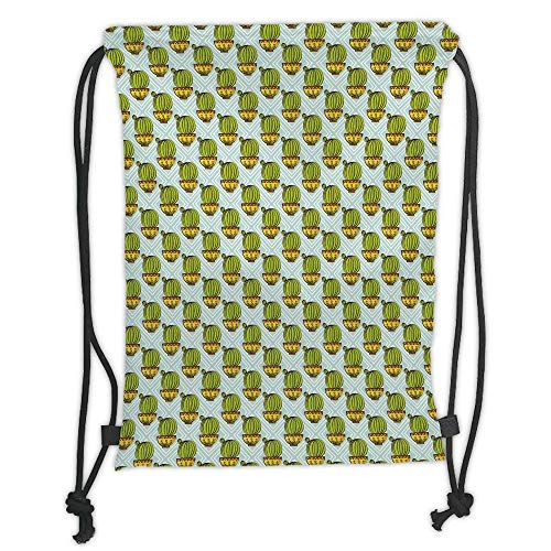 Fevthmii Drawstring Backpacks Bags,Cactus,Diamond Pattern Rectangles Background with Plants Ethnic South American Decorative,Apple Green Yellow Mint Soft Satin,5 Liter Capacity,Adjustable S