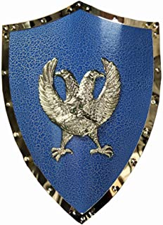 Knight Shield Blue Cold Rolled Sheet Medieval Two-headed Eagle Shield Wall Sculpture Decor 45x61cm Medieval Gear (Color : ...